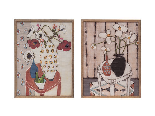 Floral Prints on Bamboo Wall Decor with Wood Frame (Set of 2 Styles)