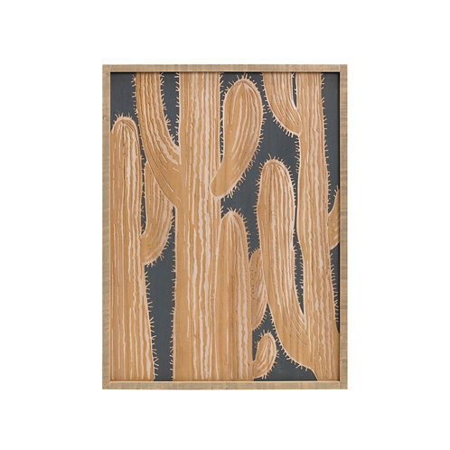 Slate Blue & Brown Wood Scratch Art with Cactus Wall Art