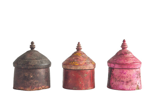 Small Found Distressed Red Wood Tikka Box (Each one will vary)