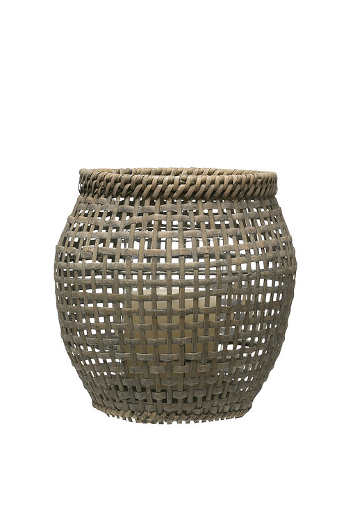 "9.5""H Woven Rattan Lantern with Glass Insert"