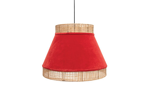 Cotton Velvet & Cane Pendant Light with 6' Cord (Hardwire Only)