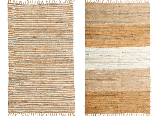 4' x 6' Brown Cotton Blend Chindi Rug with Fringe (Set of 2 Styles)