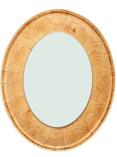 Oval Wall Mirror with Pine Wood Frame (Hangs Vertically or Horizontally)
