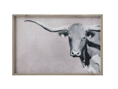 Longhorn Image Canvas Wall Decor with Wood Frame