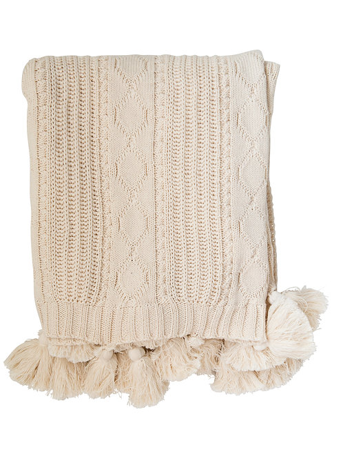 Chunky Cable Knit Cream Cotton Throw with Tassels