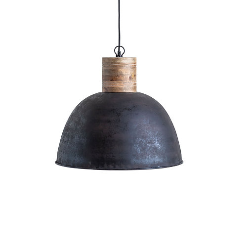 Black Metal Pendant Light with Wood Neck