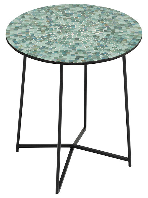 "15.75""R Mosaic Glass Table with Metal Legs & Frame"