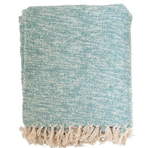 Cream & Aqua Blue Cotton & Acrylic Throw