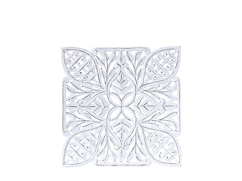 Antique White Square Wood Carved Wall Decor with Mirror