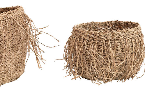 "6"", 8"" & 11.75"" Handwoven Seagrass Baskets with Fringe (Set of 3 Sizes)"