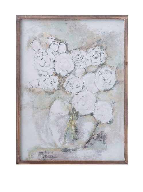 White Flowers in Vase on Canvas in Wood Frame Wall Decor