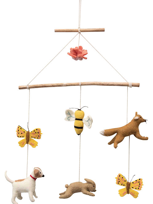 Wood & Wool Felt Animal Mobile with Butterflies, Bee, Rabbit & More