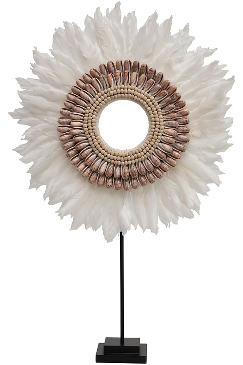 Handmade Feather & Shell Decorative Figurine on Metal Stand