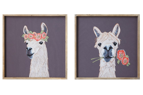 18 Inch Square Wood Framed Llama Wall Decor (Set of 2 Designs)