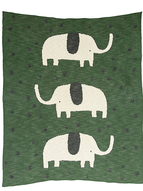 Elephants & Stars Green Cotton Knit Baby Blanket