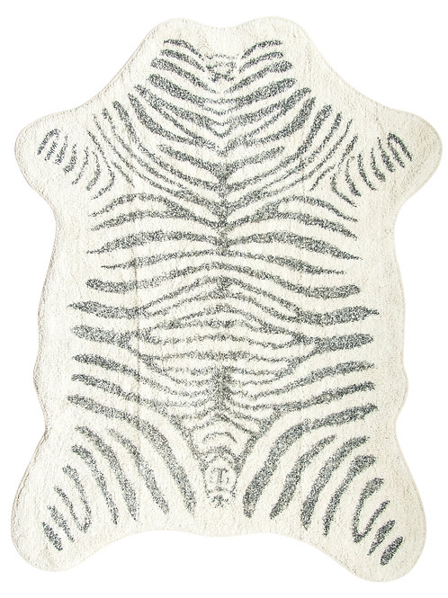 "78"" White & Black Zebra Print Cotton Rug"