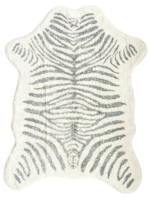 """78"""" White & Black Zebra Print Cotton Rug"""