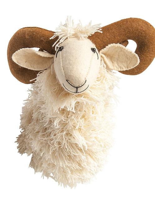 White Wool & Felt Ram Head Wall Decor