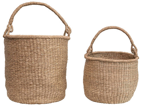 "20.5"" & 16"" Handwoven Seagrass Baskets with Handles (Set of 2 Sizes)"