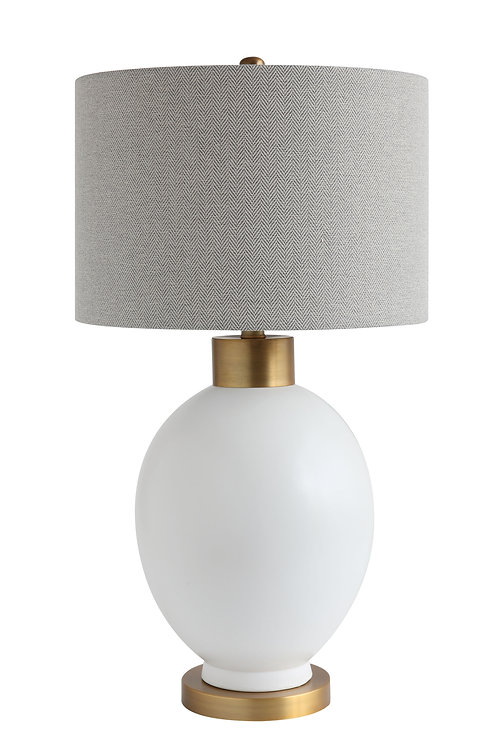 White Ceramic Table Lamp with Grey Fabric Shade