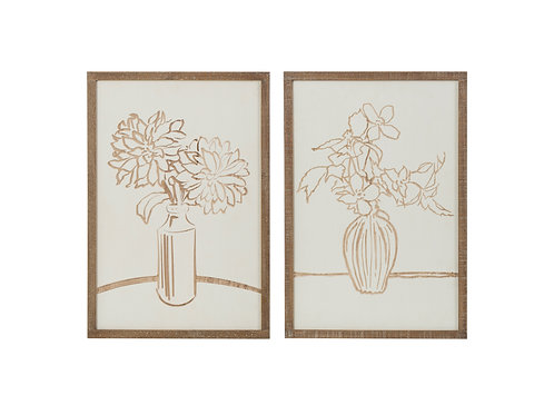 Floral Scratch Art Wood Wall Decor (Set of 2 Styles)