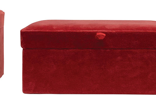Wood & Cotton Velvet Boxes with Attached Lids (Set of 3 Sizes)