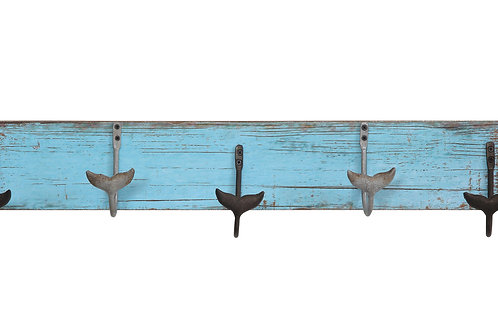 Distressed Blue Wood Wall Decor with 5 Metal Whale Tail Shaped Hooks