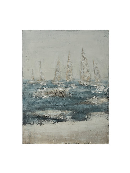"47.25""H Hand-Painted Sailboats on Stormy Ocean Canvas Wall Decor"