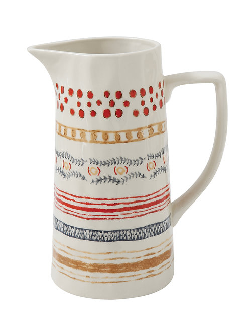 Red, Beige & Blue Striped Stoneware Pitcher