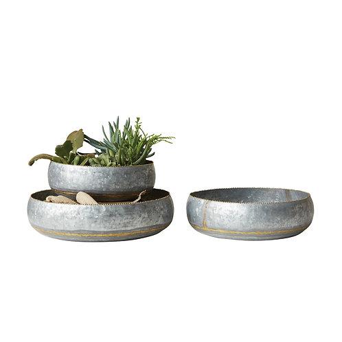 Set of 3 Decorative Metal Bowls/Planters