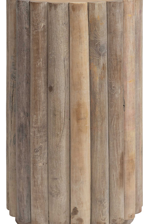 Reclaimed Wood Pedestal/Table with Half-Round Onlays (Each one will vary)