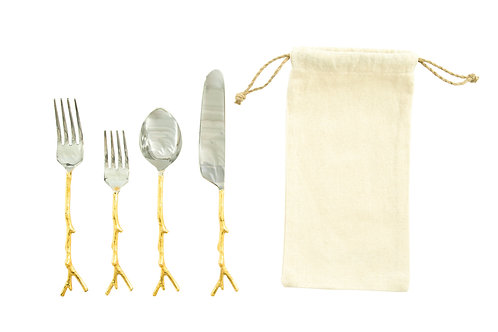 Stainless Steel Flatware Set  (Set of 5 Pieces in Drawstring Bag)
