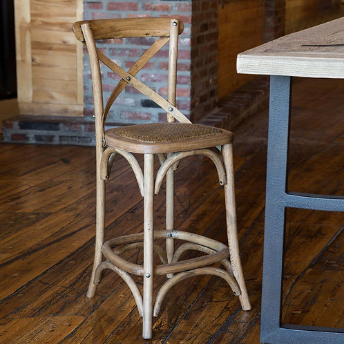 Wooden Cross Back Counter Stool
