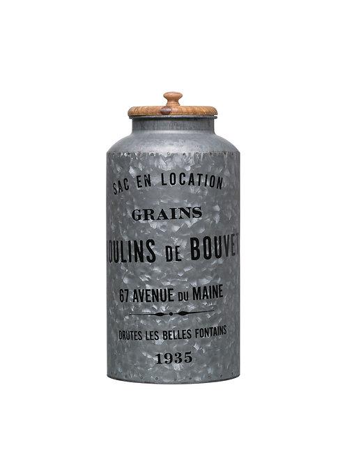 """""""Grains Moulins de Bouvet"""" Vintage Reproduction Galvanized Metal Container"""