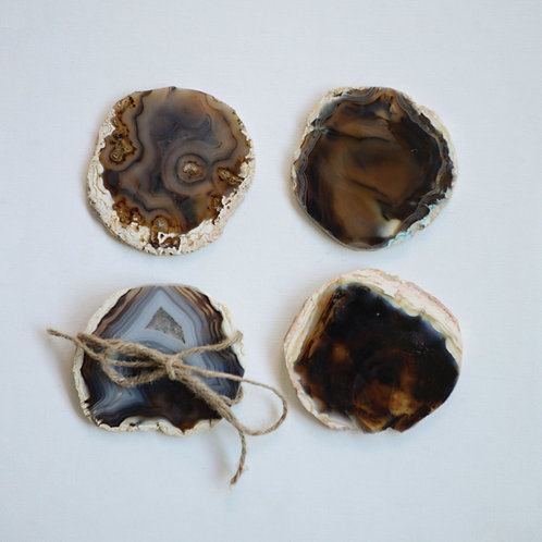 4 Piece Brown Agate Coaster Set