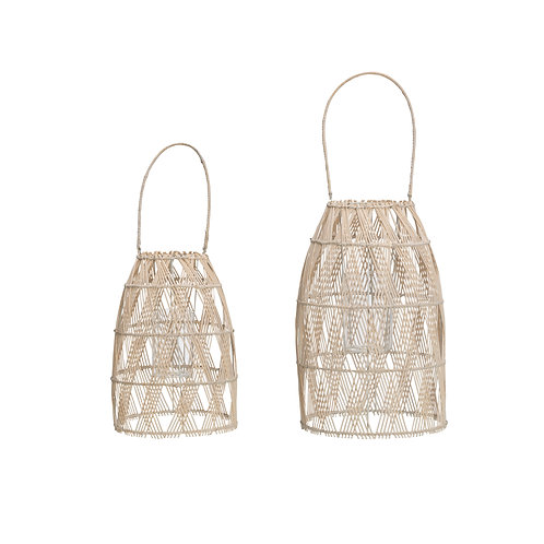 Woven Bamboo Lanterns with Glass Inserts & Handles (Set of 2 Sizes)
