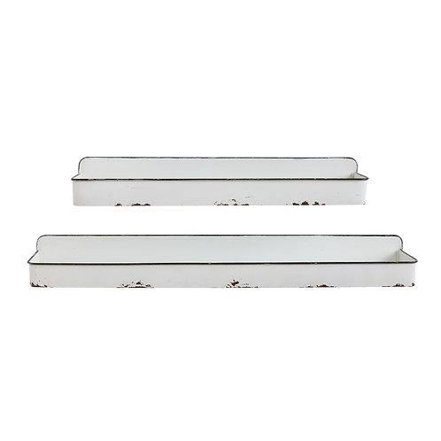 Set of 2 Distressed White Metal Wall Shelves