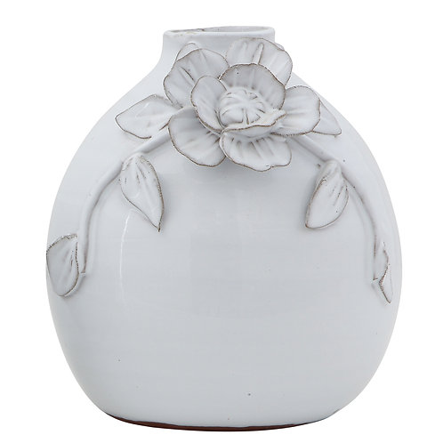 White Terracotta Vase with Decorative Handmade Flower