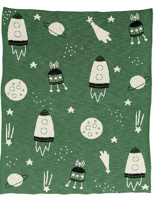 Green Space Print Cotton Knit Baby Blanket