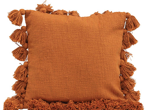 Square Pumpkin Spice Pillow with Tassel Trim