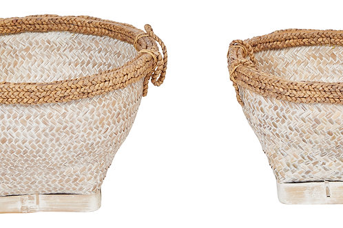 "17"" & 20.5"" Woven Bamboo & Water Hyacinth Baskets (Set of 2 Sizes)"