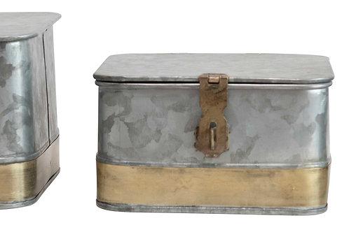 Decorative Galvanized Metal Boxes (Set of 3 Sizes)