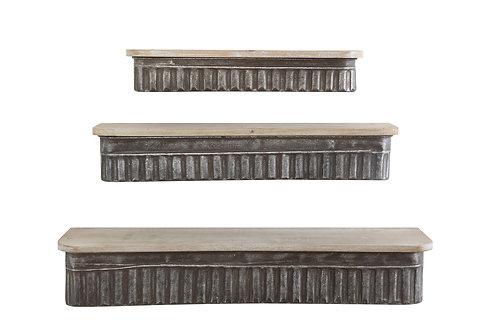 Metal & Wood Wall Shelves (Set of 3 Sizes)