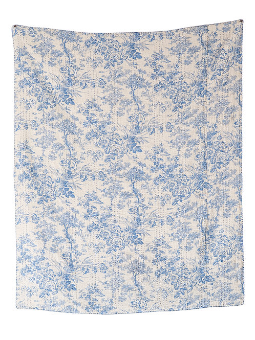 White & Blue Cotton Chambray Throw with Toile Pattern & Kantha Stitch