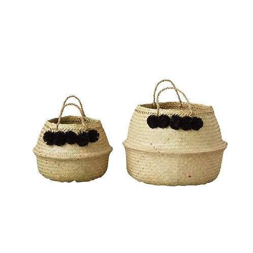 Beige Collapsible Seagrass Baskets (Set of 2 Sizes)