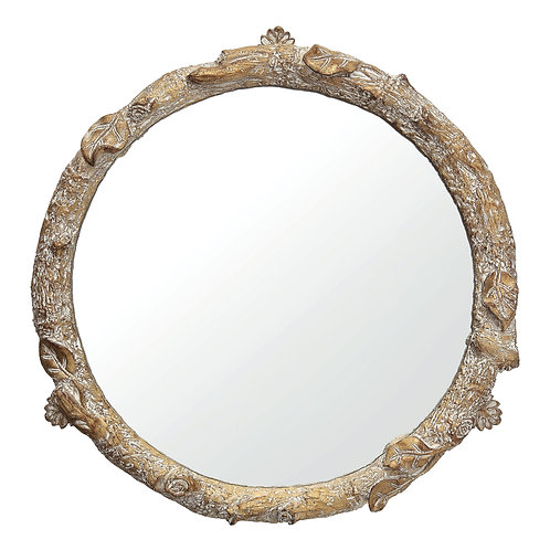 Round Resin Tray with Mirror