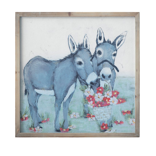 Blue Donkeys with Flowers in Basket on Canvas Wood Framed Wall Decor