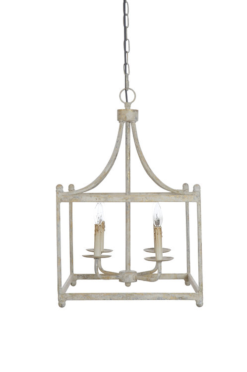 Distressed Cream Square Metal Pendant Light (Bulbs not included)