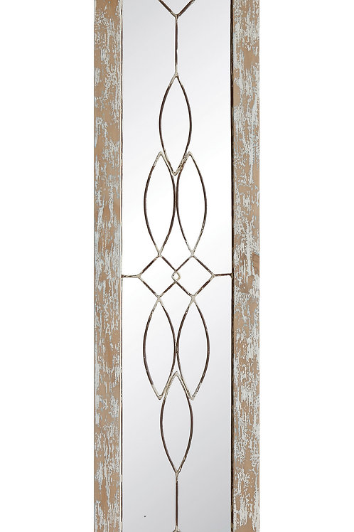 Decorative Rectangle Mirror with Distressed White Finish