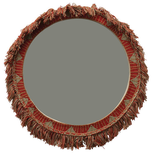 "20"" Round Embroidered Cotton Framed Mirror with Fringe"